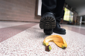 shoe stepping in banana peel