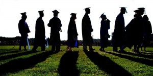 Graduates walking towards future